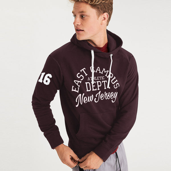 F&F Pullover Fleece Hoodie For Men-Scarlet-BE3470