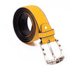 Men's Faux Leather + Alloy Belt-Yellow-BE251