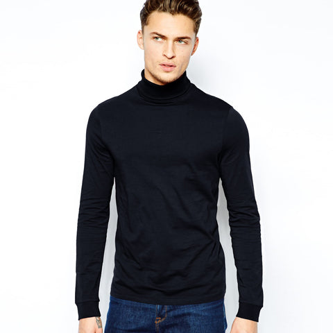 Men's High Neck Full Sleeve Shirt-Dark Navy p77
