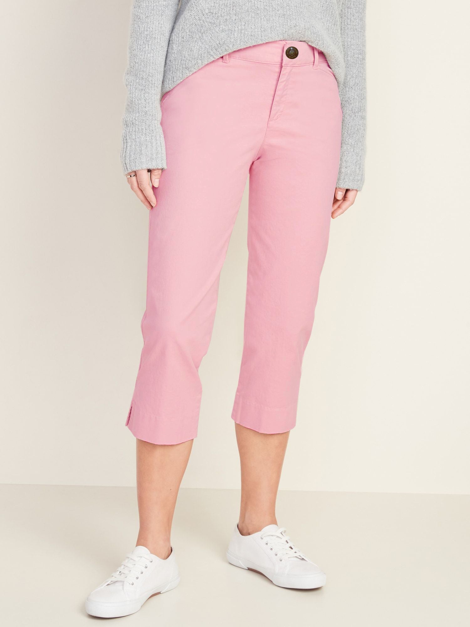 Springfield Slim Fit Stretch Capri For Ladies-Baby Pink-F174