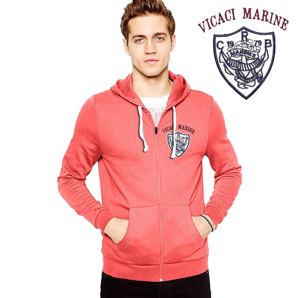 "Men's ""Rupas"" Vicaci Marine Embriodery Fashion Zipper Hoodie-Coral Orange-VMH01"