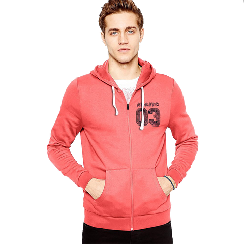 "Men's ""Rupas"" 03 Navy Printed Fashion Zipper Hoodie-Coral Orange-RP01"