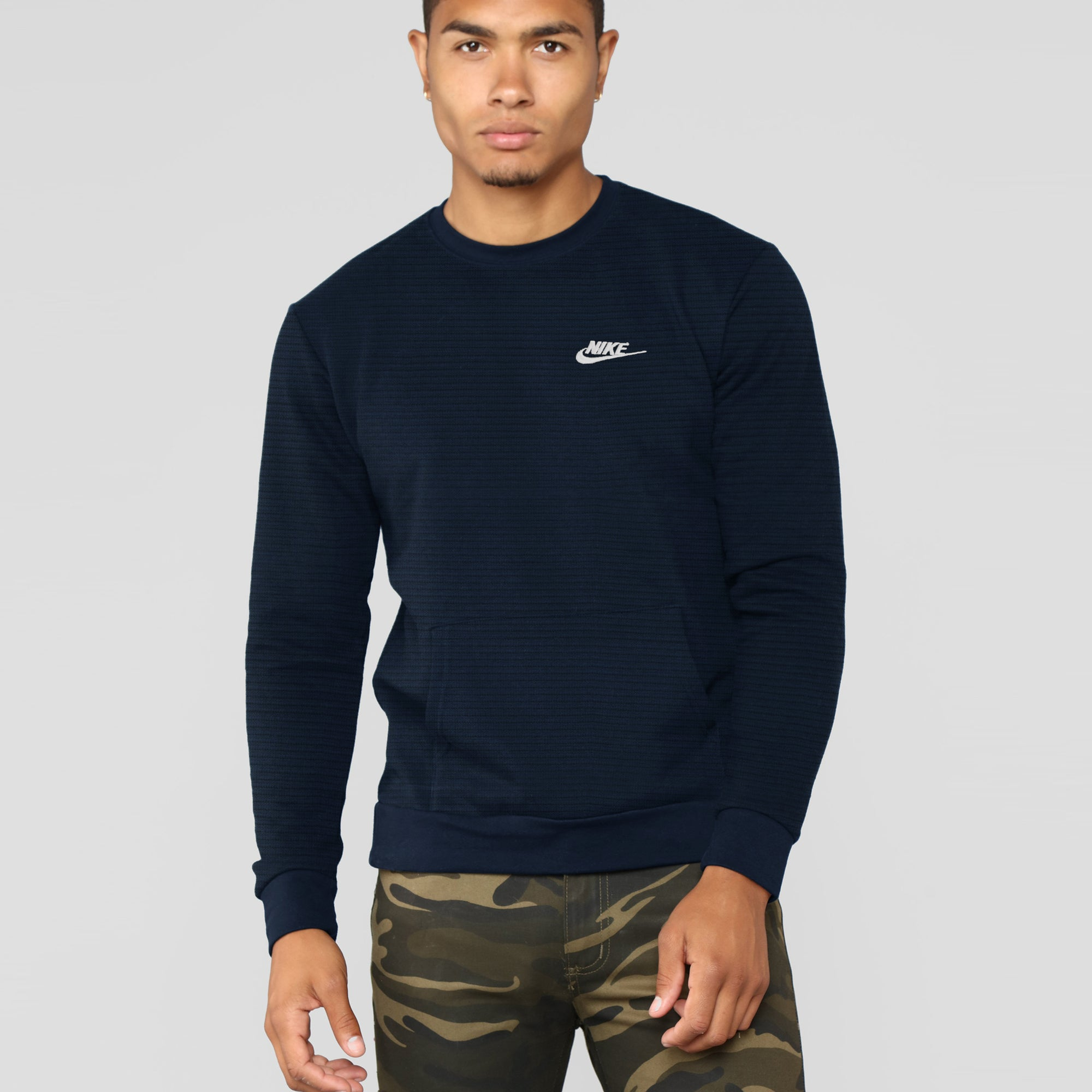 NK Crew Neck Thermal Sweatshirt For Men-Dark Navy-SP1335
