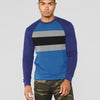 New Stylish Terry Fleece Raglan Sleeve Crew Neck Sweatshirt For Men-Purple & Dark Sky Blue with Panels-SP1711