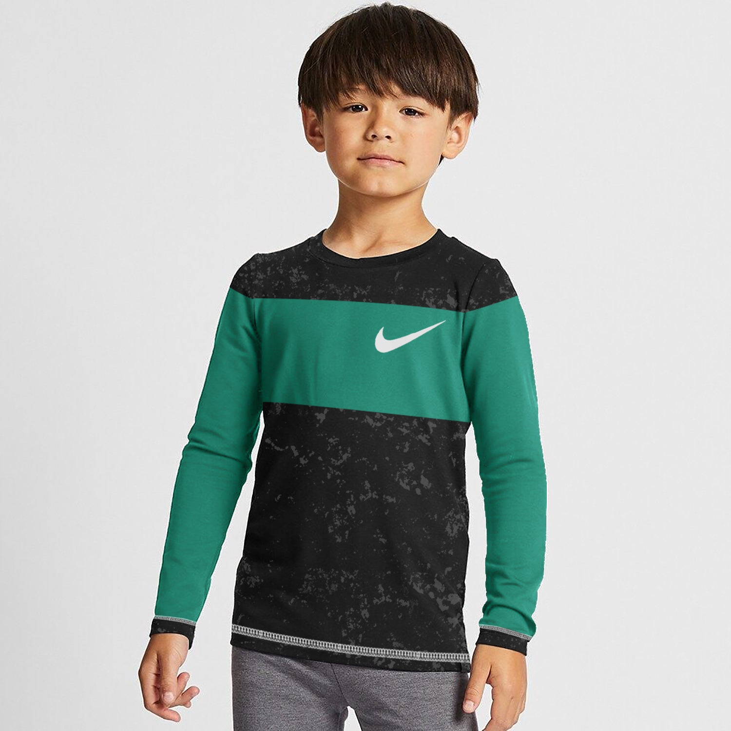 NK Crew Neck Single Jersey Long Sleeve Tee Shirt For Kids-Black Faded With Cyan Green Panel-SP3526