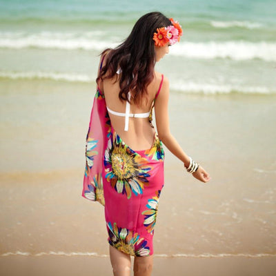 Copy of Ladies Beach Wear Dress Sarong Bikini Cover ups Wrap Pareo Skirts Flower Open Back hot-Allover Print-SP1912