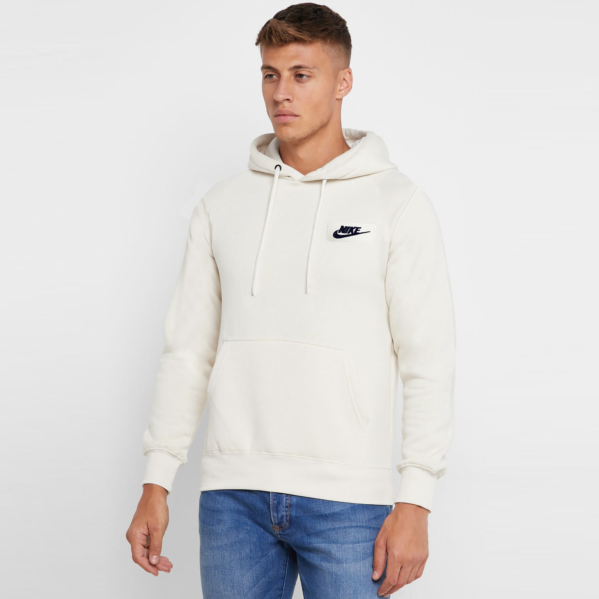 NK Fleece White with Navy Embroidery Pullover Hoodie For Men-White-SP1012