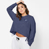 NK Terry Fleece Raglan Sleeve Crop Sweatshirt For Women-Dark Purple-SP1132