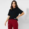 Nyc Polo Terry Fleece Half Sleeve Crop Sweatshirt For Women-Black-SP1328