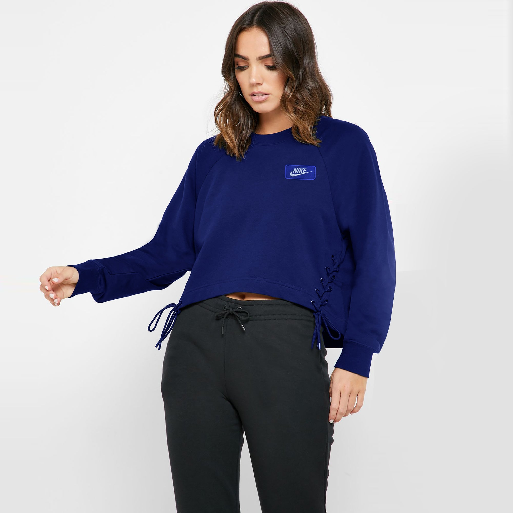 NK Terry Fleece Raglan Sleeve Crop Sweatshirt For Women-Dark Royal Blue-SP1145