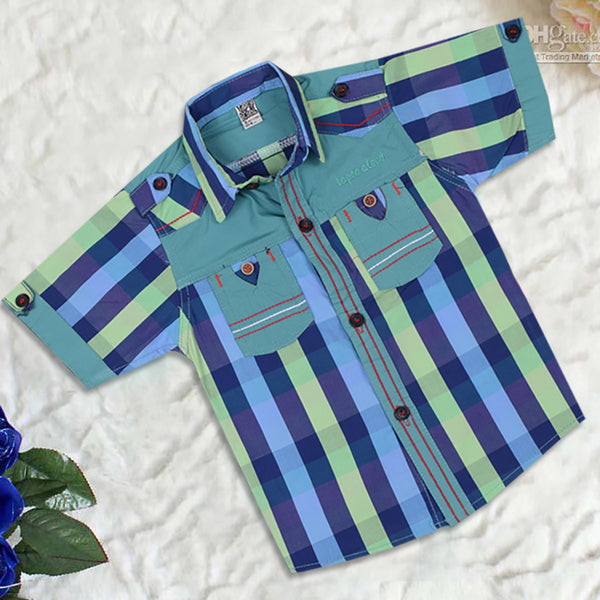 "Kid's ""TAO"" Short Sleeves Multi Color Stylish Casual Shirt - KC222"