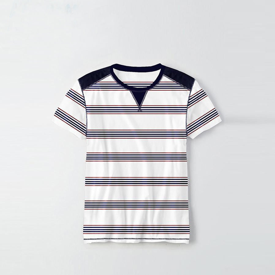 Kids Kroner Striped T Shirt-White-KKTS01