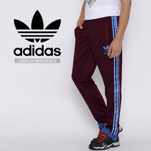 Adidas Cotton Trouser For Men-Dark Maroon with Blue Stripes-BE2328