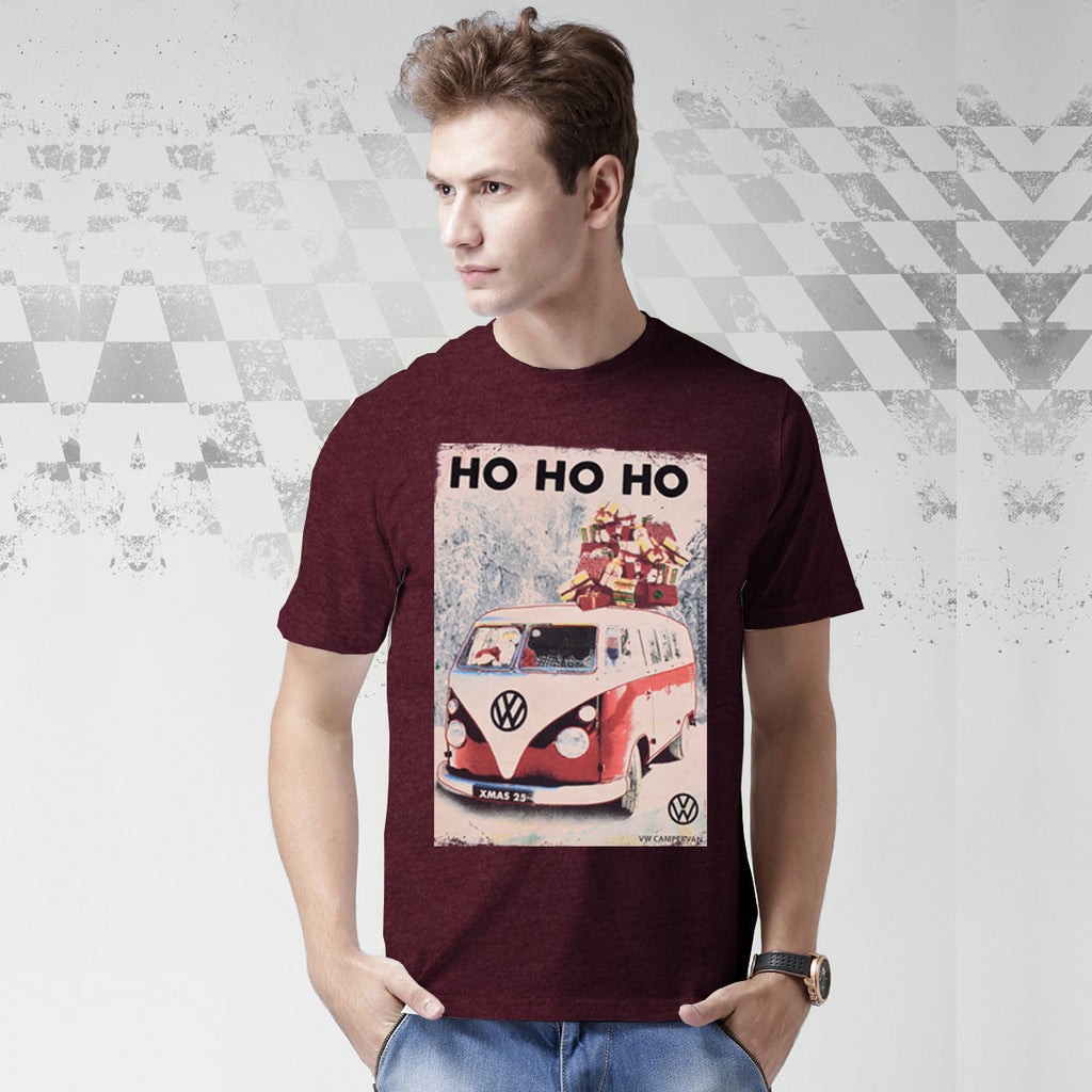 Classic Camper Crew Neck T Shirt For Men-Dark Burgundy-BE1060