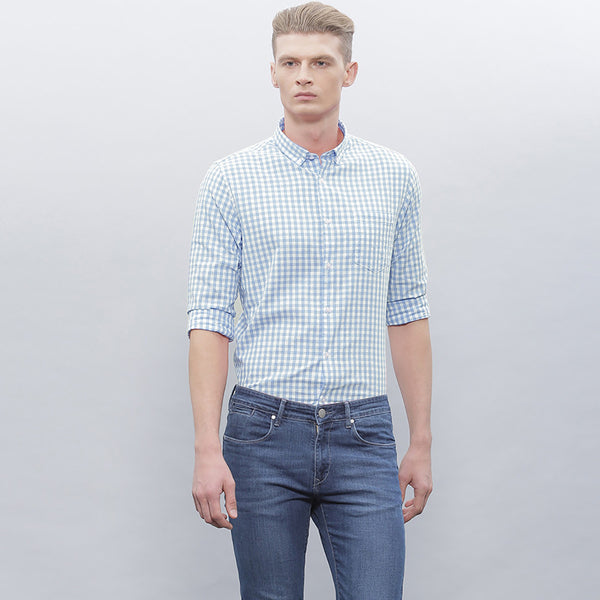 "Men's ""Zara"" Exclusive Check Cotton Shirt-Blue White-BE182"