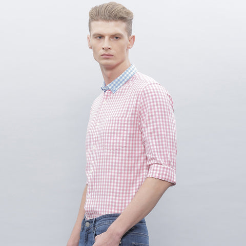"Men's ""Zara"" Exclusive Check Cotton Shirt-Pink White Blue Collar-BE202"