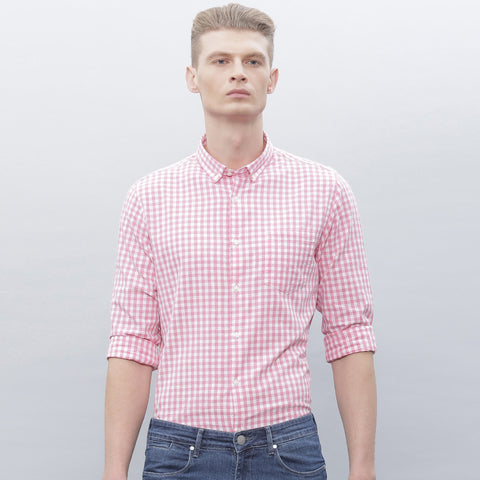 "Men's ""Zara"" Exclusive Check Cotton Shirt-Pink White-BE183"