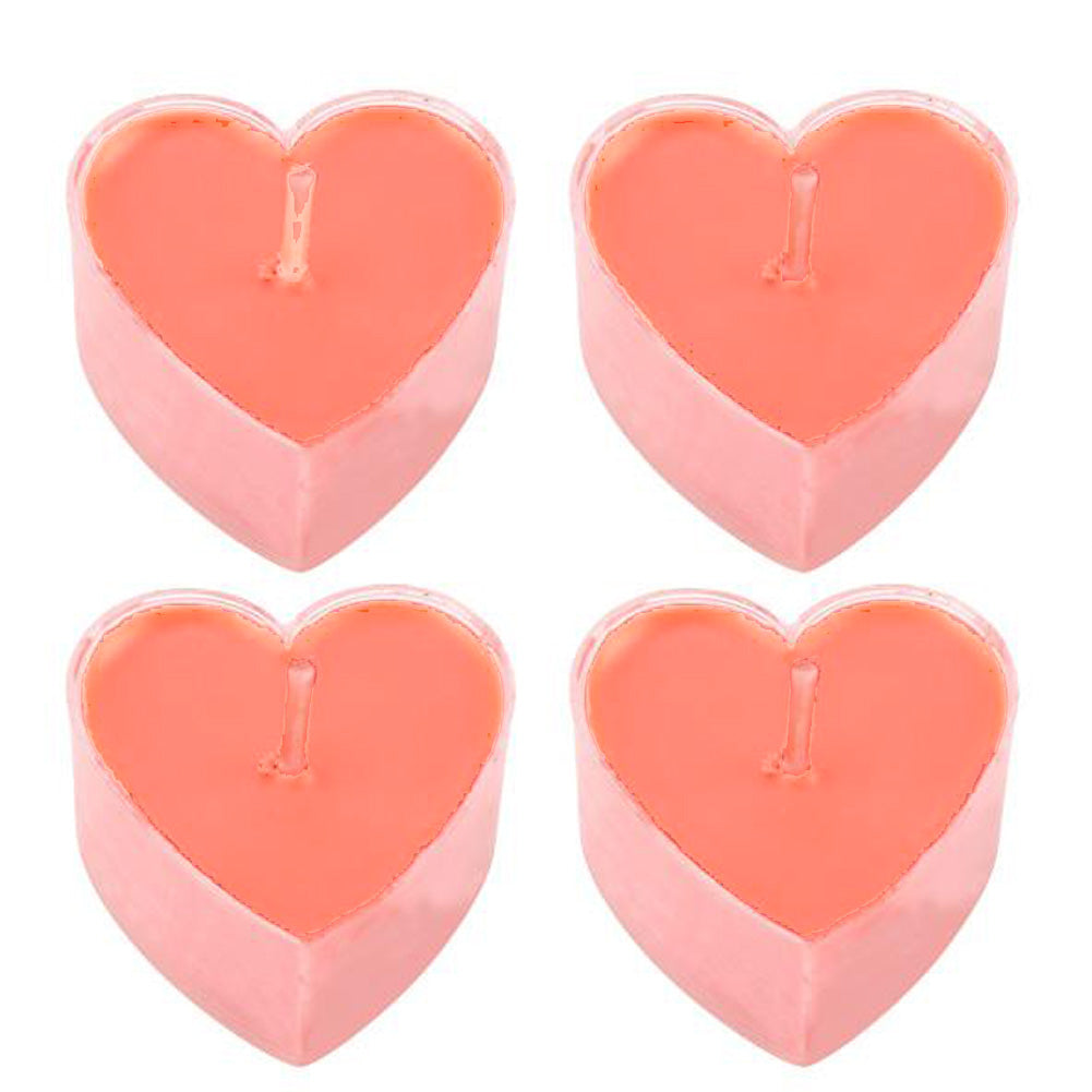 Pack Of 4 Heart Shaped Light Pink Dinner Candle-SP2512
