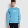 New York Popular Crew Neck Fleece Embroidered Sweatshirt For Men-Cyan Blue-SP1080