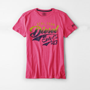 Diesel Printed Logo Tee Shirt For Men-Pink-DLPTS16
