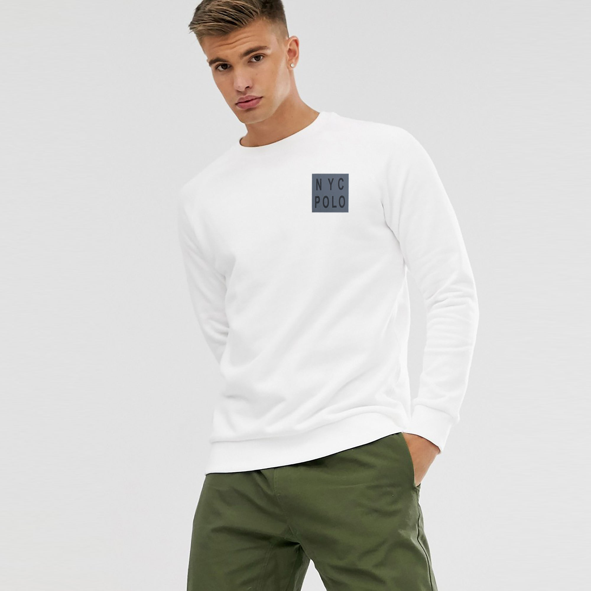 Nyc Polo Crew Neck Fleece Embroidered Sweatshirt For Men-White-SP1148