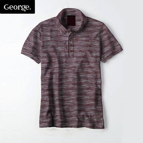 George Polo For Men Cut Label-Burgundy Striped-BE2472