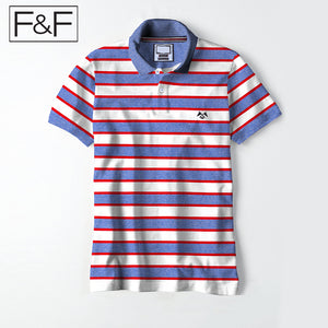 F&F Polo Shirt For Men Cut Label-Blue Melange With White & Red Striped-BE2462