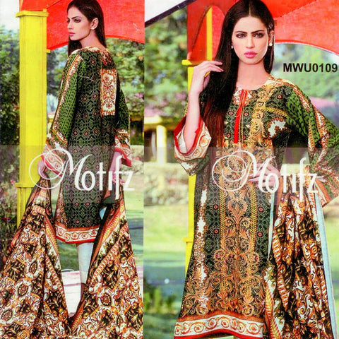 "Ladie's ""Motfiz"" Unstitched 3 Piece Suite -(MT01)"