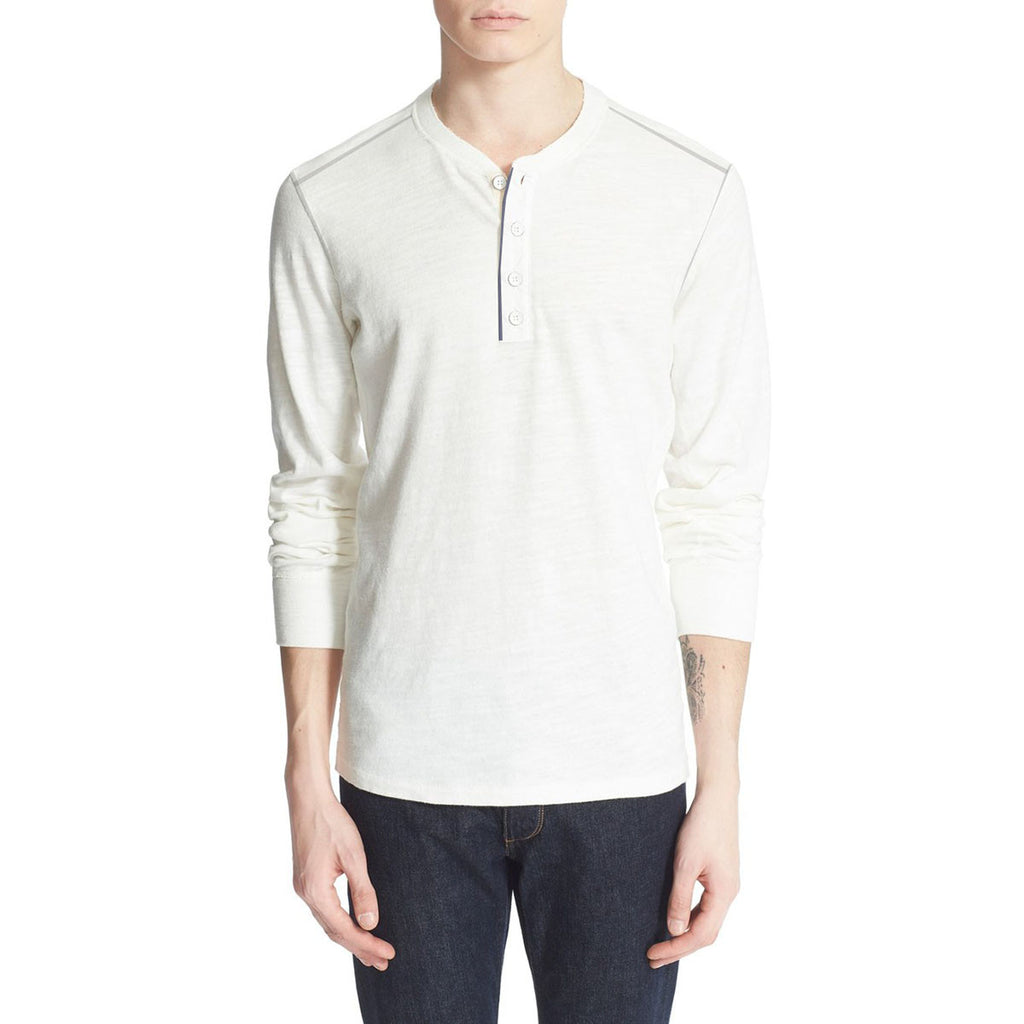 "Men's Cut label ""NEXT"" Thermal Henley Shirt-Off White-(SS40)"