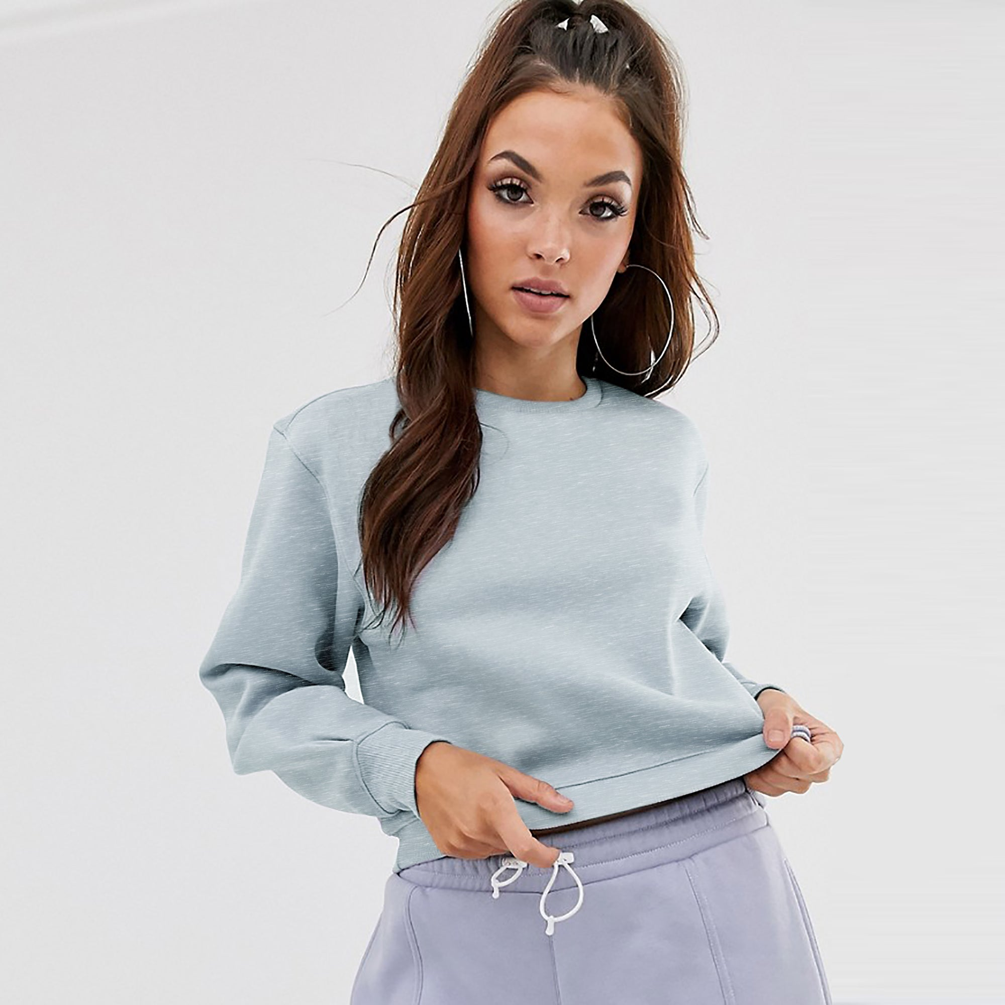 NK Terry Fleece Long Sleeve Crop Sweatshirt For Women-Ice Blue Melange-SP1039