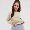 NK Terry Fleece Coeeze Crop Sweatshirt For Women-Camel Melange-SP1322