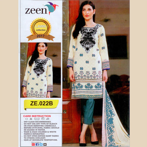 Zeen Unstitched 3 Piece Suit For Ladies-NS13