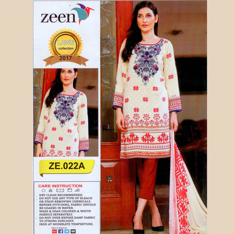 Zeen Unstitched 3 Piece Suit For Ladies-NS14
