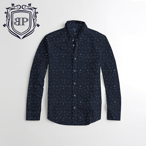 ECRU Denim Printed Shirt CS059 By BUSHIRT PATLOON