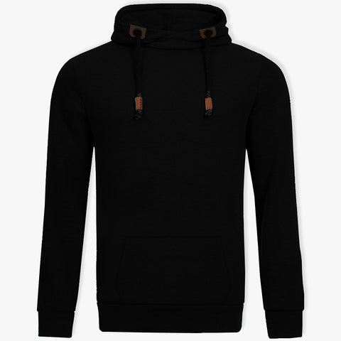 "Men's ""Sublevel"" Stylish Pull Over Fleece Hoodie-Black-BB11"