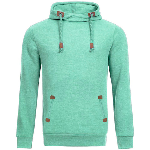 "Men's ""Sublevel"" Stylish Pull Over Fleece Hoodie-Cyan Green-BB04"
