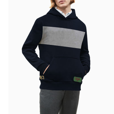 New Stylish Fleece Pullover Hoodie For Men-Dark Navy With Grey Melange Panel-SP1631