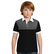 George Polo Shirt for Kids-Black White & Gray Melange-BE2056