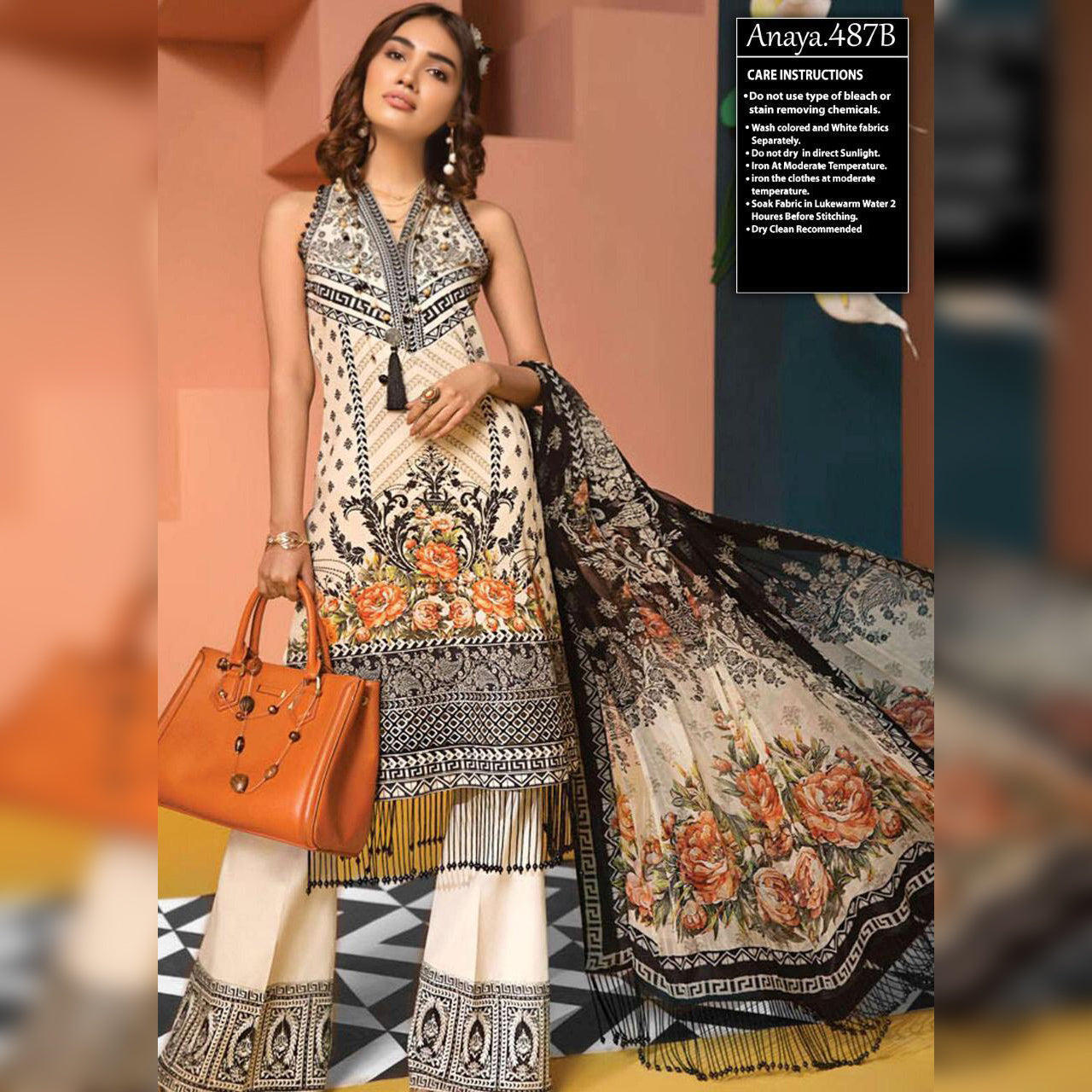 Anaya Lawn Collection 3 Piece Un-stitch Suit For Ladies-NA8818