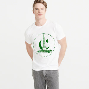 14 August Independence Day Printed Crew Neck T Shirt For Men-White-NA5943