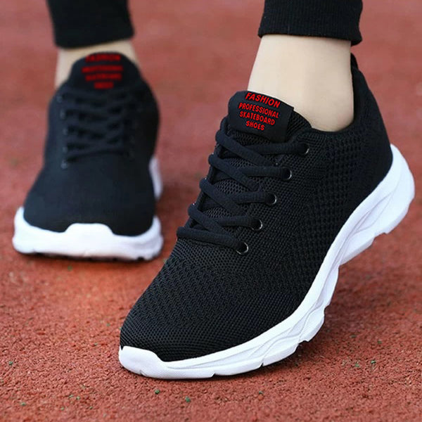 ROMWE Lace-Up Front Wide Fit Mesh Sneakers For Men-Black-NA10963