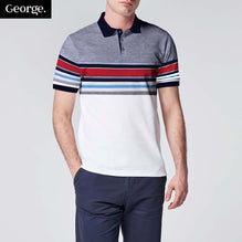 George Polo Shirt For Men Cut Label-Blue Melange & Multi Color & White-BE2463