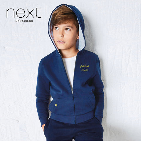 Next Terry Fleece Zipper Hoodie For Kids-Royal Blue-NA627