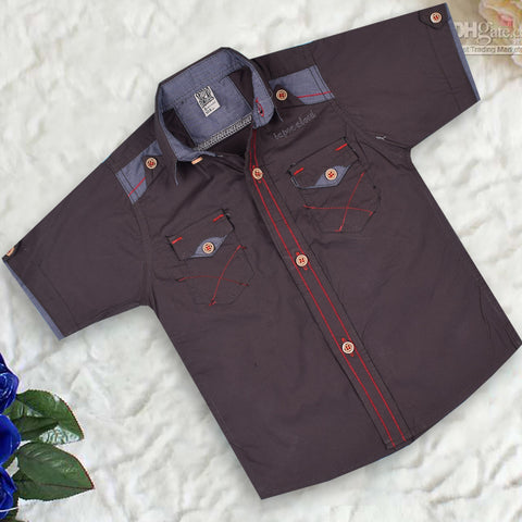 "Kid's ""TAO"" Short Sleeves Palemauve Stylish Casual Shirt - KC218"