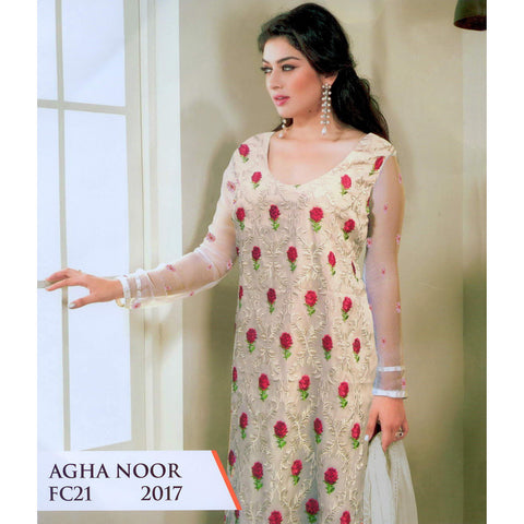 Agha Noor Hand Made Unstitched 3 Piece Ladies Suit-ULS27