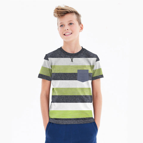 Next Single Jersey Pocket Style Tee Shirt For Kids-Parrot White & Navy Stripe-BA000156