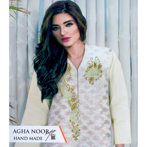 Agah Noor Hand Made Unstitched 3 Piece Ladies Suit-ULS29