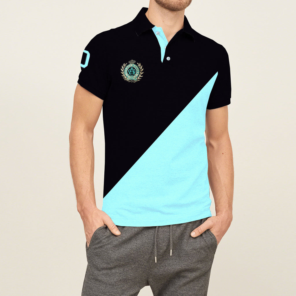 Mens Louis Vicaci Milano Muscel Fit Rosy Black & Cyan Rugby Polo Shirts -RP34