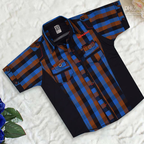 "Kid's ""TAO"" Short Sleeves Black Blue Stripe Stylish Casual Shirt- KC210"