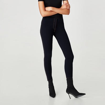 Basic Style Denim Lycra Leggings For Ladies-Dark Navy-NA265